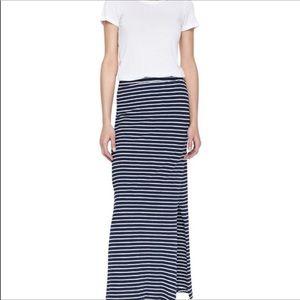 Splendid Venice blue striped side slit maxi skirt